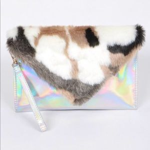 Hologram Faux Fur Clutch